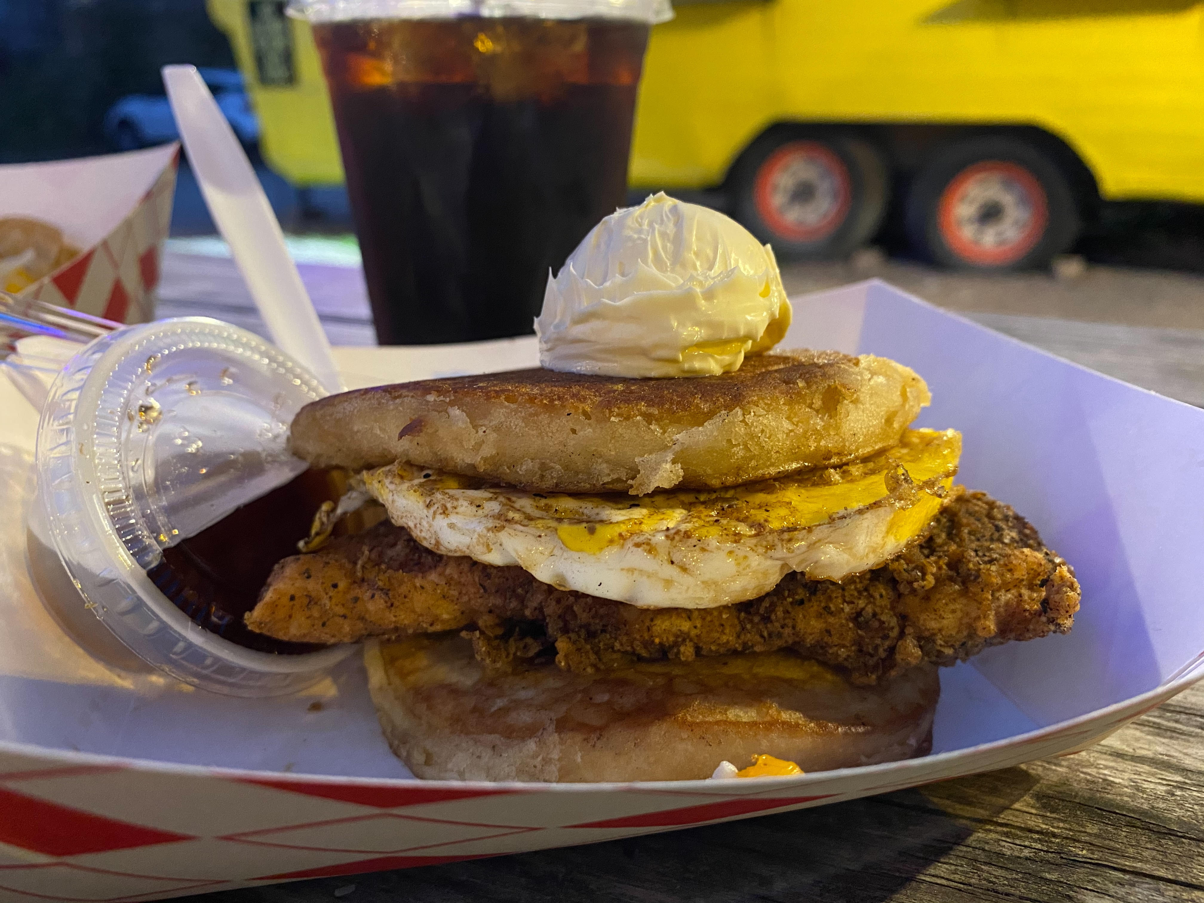 Fried chicken and egg pancake sandwich